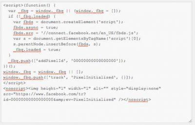 Pixel code de Facebook