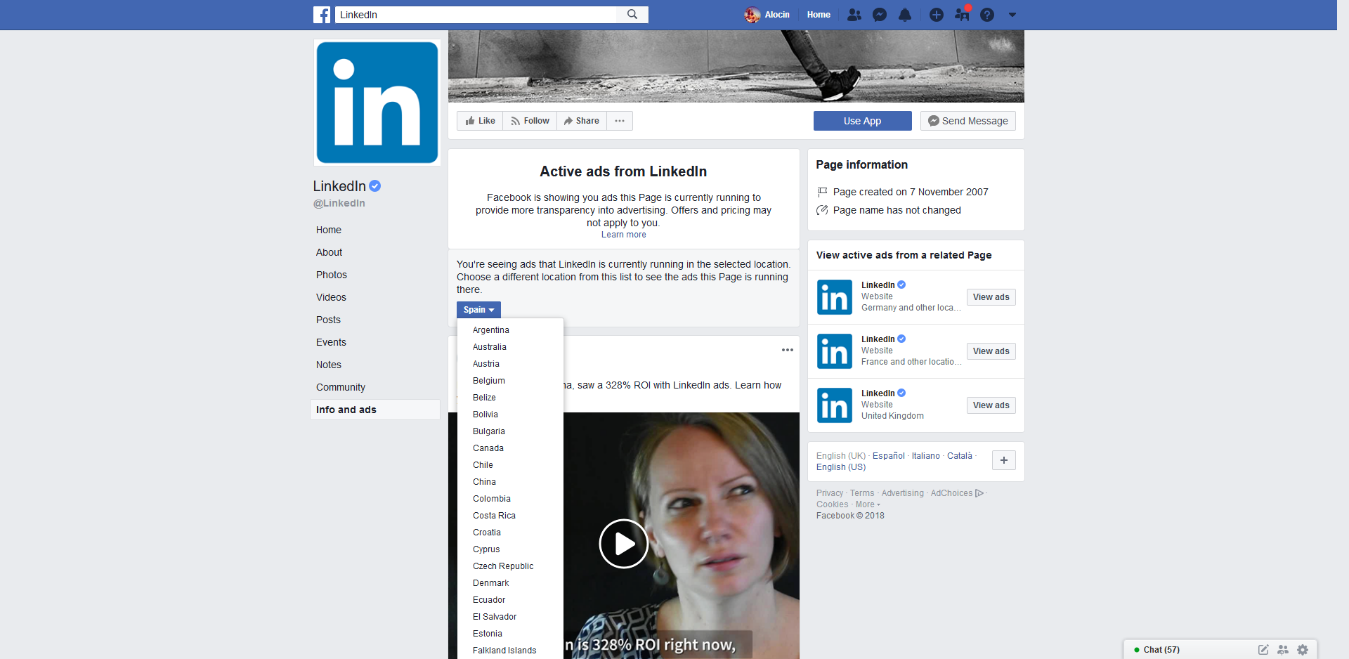 Linkedin ads in Facebook - Alocin WordPress Barcelona